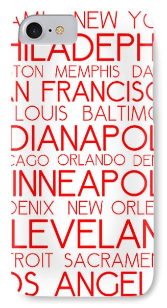 American Cities In Bus Roll Destination Map Style Poster - White-red IPhone Case by Celestial Images