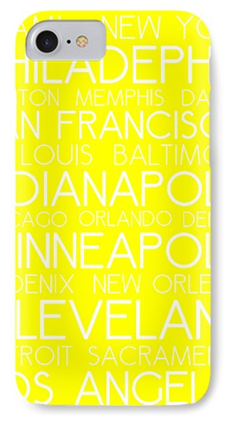 American Cities In Bus Roll Destination Map Style Poster - Yellow IPhone Case by Celestial Images