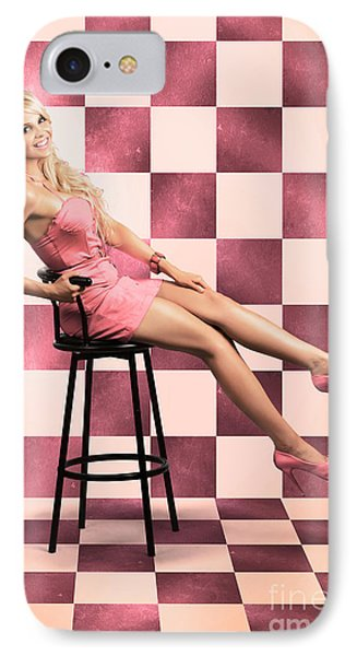 American Culture Pin Up Girl Inside 60s Retro Diner IPhone Case