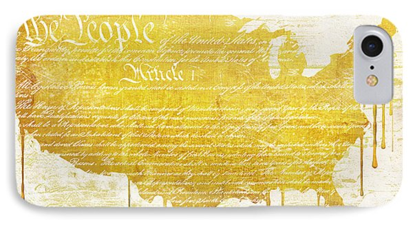 Gold American Map Constitution IPhone Case