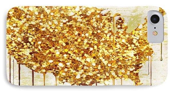 Glitter Gold American Map IPhone Case by Mindy Sommers