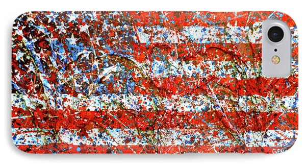 American Flag Abstract 2 With Trees  IPhone Case by Genevieve Esson