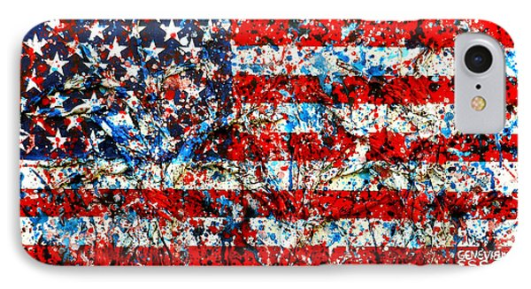 American Flag Abstract With Trees IPhone Case by Genevieve Esson