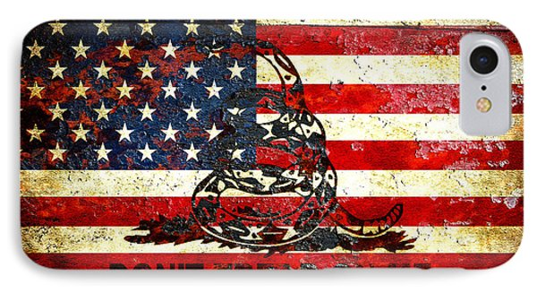 American Flag And Viper On Rusted Metal Door - Don't Tread On Me IPhone Case by M L C