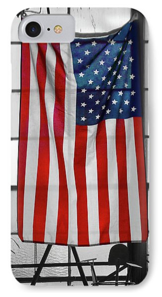 IPhone Case featuring the photograph American Flag In The Window by Mike McGlothlen