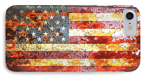American Flag On Rusted Riveted Metal Door IPhone Case by M L C