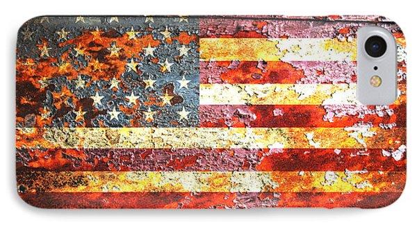 American Flag On Rusted Riveted Metal Door IPhone Case