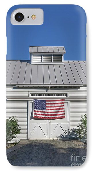 American Flag On White Barn IPhone Case by Edward Fielding