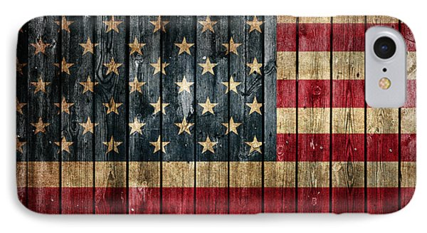 American Flag Painted On Reclaimed Barn Wood IPhone Case by Design Turnpike