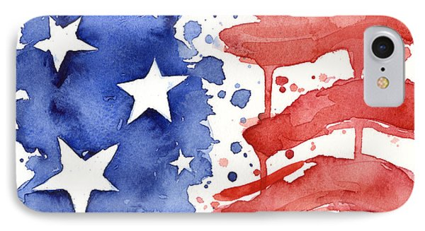 American Flag Watercolor Painting IPhone Case by Olga Shvartsur