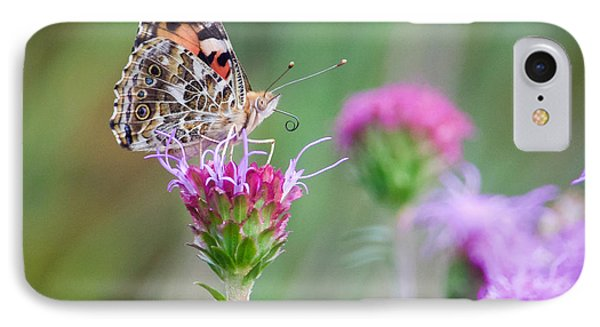 IPhone Case featuring the photograph American Lady Butterfly by Heidi Hermes