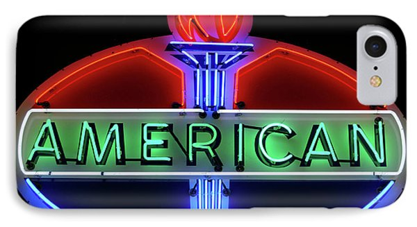 IPhone Case featuring the photograph American Oil Sign by Sandy Keeton