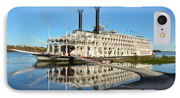 American Queen Steamboat Reflections On The Mississippi River IPhone Case by David Lawson