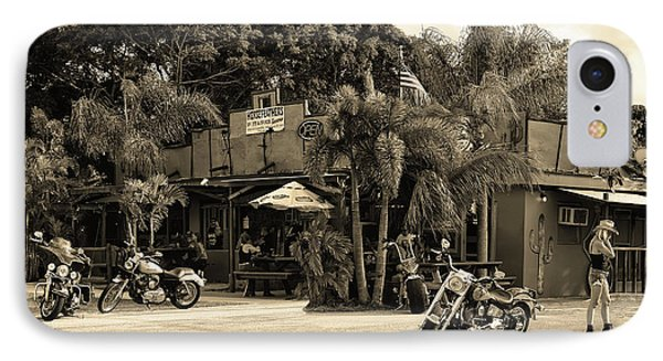 IPhone Case featuring the photograph American Roadhouse Sepia by Laura Fasulo
