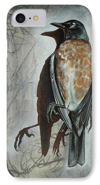 IPhone Case featuring the mixed media American Robin by Sheri Howe