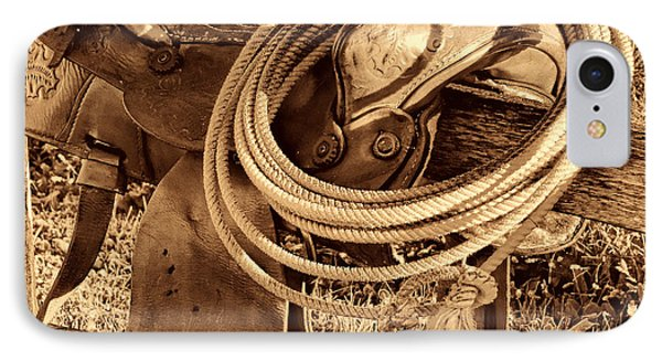 American West Legend Rodeo Western Lasso On Saddle IPhone Case by American West Legend By Olivier Le Queinec
