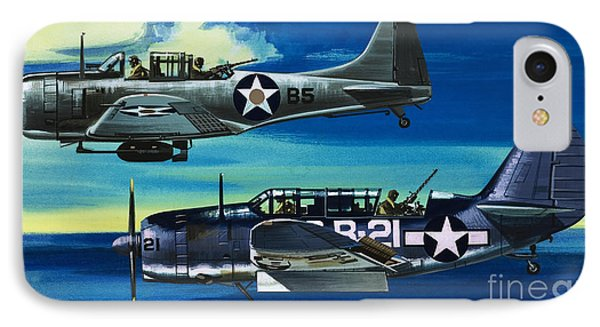 American Ww2 Planes Douglas Sbd1 Dauntless And Curtiss Sb2c1 Helldiver IPhone 7 Case by Wilf Hardy