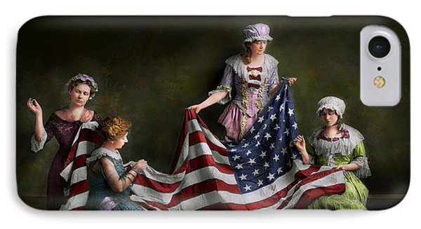 Americana - Flag - Birth Of The American Flag 1915 IPhone Case by Mike Savad