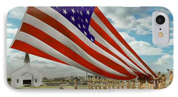 Americana - Fort Hood Texas - Unfolding The Flag 1944 IPhone Case by Mike Savad