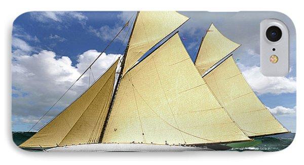 1920 America's Cup - Resolute Vs Shamrock Iv Schooners Marine Art IPhone Case by Thomas Pollart