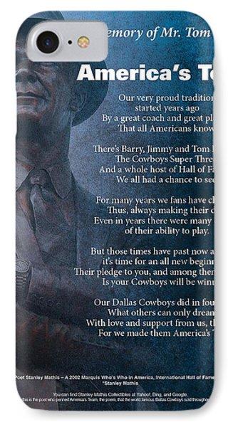 America's Team Poetry Art Phone Case by Stanley Mathis
