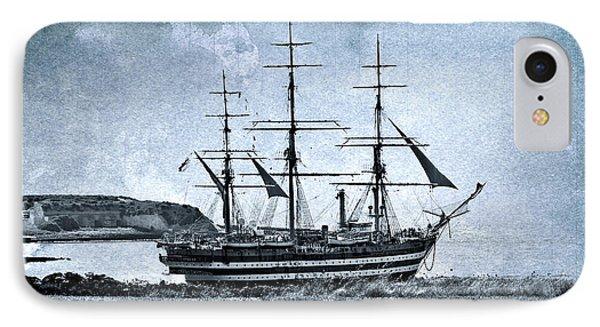 Amerigo Vespucci Sailboat In Blue Phone Case by Pedro Cardona Llambias