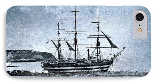 Amerigo Vespucci Sailboat In Blue IPhone Case