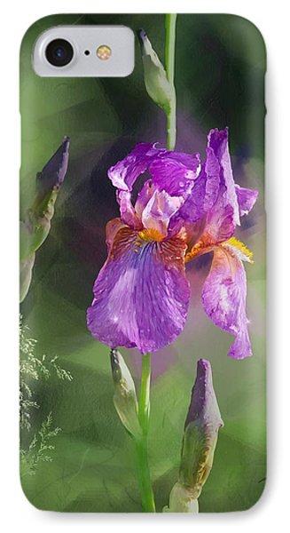 Amethyst Iris 2 IPhone Case by Debra Baldwin