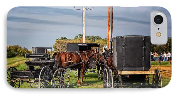 Amish At The Auction Phone Case by Al  Mueller