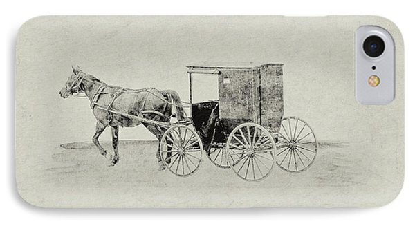 Amish Horse And Buggy Sketch IPhone Case by Randy Steele
