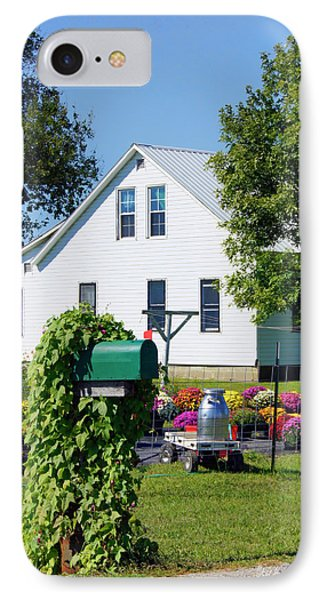 IPhone Case featuring the photograph Amish House With Mums by Cricket Hackmann