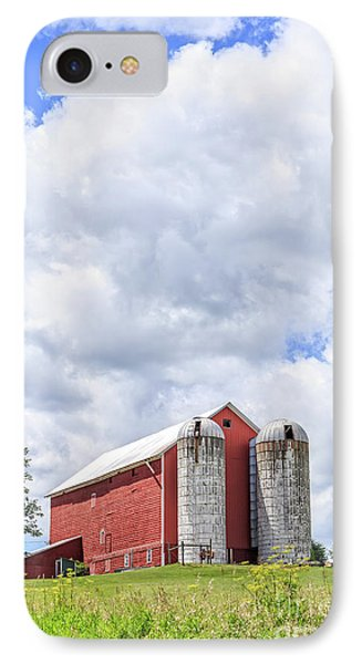 Amish Red Barn And Silos IPhone Case by Edward Fielding