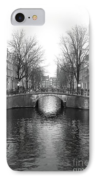 Amsterdam Canal Bridge Black And White IPhone Case by Carol Groenen