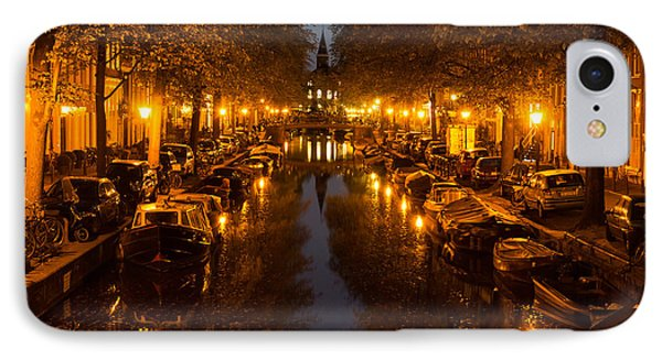 Amsterdam Canal In Golden Yellow IPhone Case