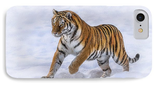 IPhone Case featuring the photograph Amur Tiger Running In Snow by Rikk Flohr