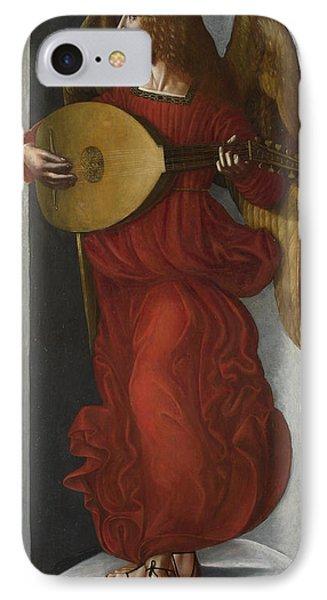 An Angel In Red With A Lute IPhone Case by Associate of Leonardo da Vinci