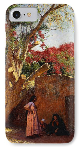An Arab Family Outside A Village IPhone Case by Ludwig Deutsch