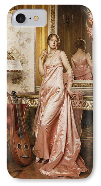 An Elegant Lady In An Interior IPhone Case by Joseph Frederic Charles Soulacroix