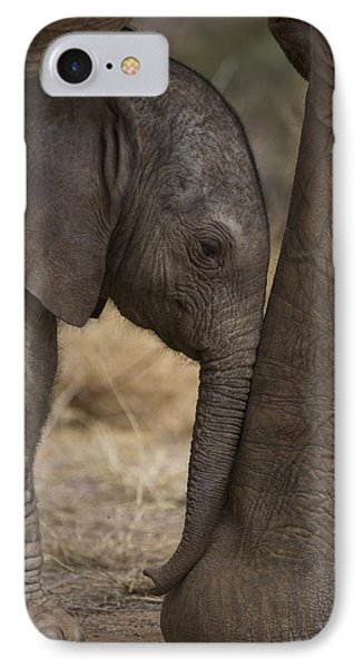 Cow iPhone 7 Case - An Elephant Calf Finds Shelter Amid by Michael Nichols