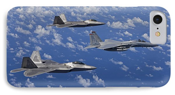An F-15 Eagle And Two F-22 Raptors Fly Phone Case by HIGH-G Productions