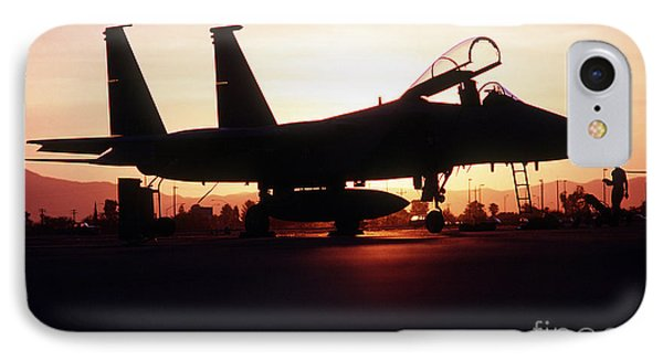 An F-15c Eagle Aircraft Silhouetted Phone Case by Stocktrek Images