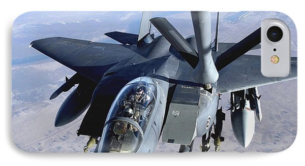 An F-15e Strike Eagle Refuels Over Iraq Phone Case by Stocktrek Images