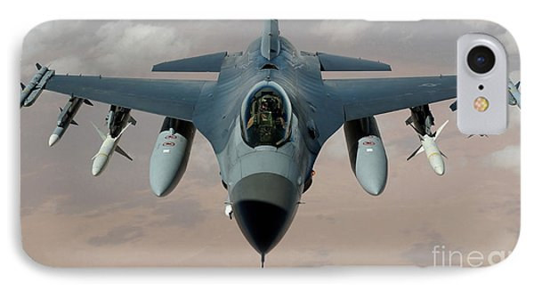 An F-16 Fighting Falcon Flies A Mission Phone Case by Stocktrek Images