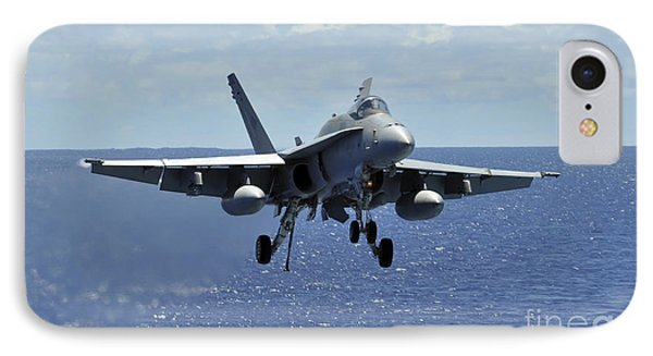 An Fa-18c Hornet Approaches The Flight IPhone Case