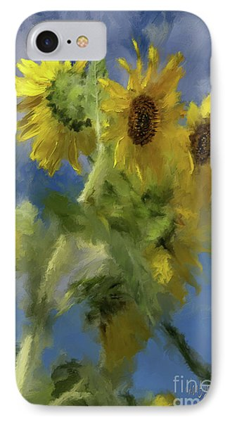 IPhone Case featuring the photograph An Impression Of Sunflowers In The Sun by Lois Bryan