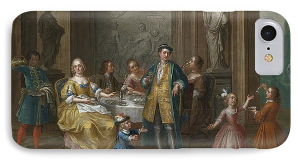 An Interior Scene With Figures Seated At A Table  IPhone Case by Celestial Images