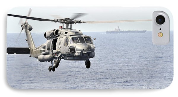 An Mh-60r Seahawk Helicopter In Flight Phone Case by Stocktrek Images