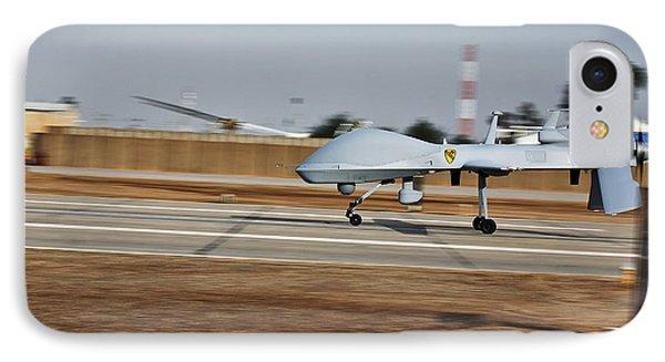 An Mq-1c Sky Warrior Uav Lands At Camp IPhone Case
