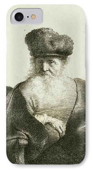 An Old Man With A Beard, Fur Cap, And Velvet Cloak IPhone Case by Rembrandt