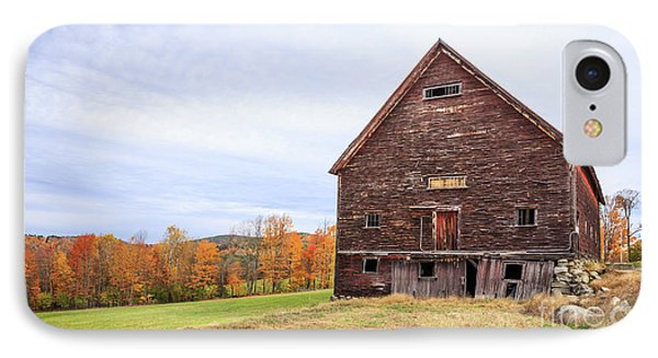 An Old Wooden Barn In Vermont. IPhone Case by Edward Fielding